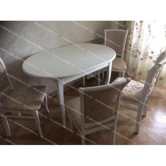 Обеденная группа стол Лемур и 4 стула М-15 белая эмаль ткань 37