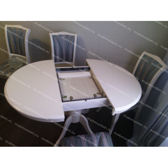 Обеденная группа стол DM-T4EX Olivia  и 4 стула OP-SC ткань голубая Ivory White
