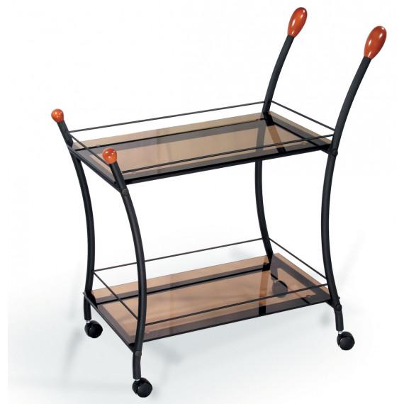 Сервировочный столик Поло черный/тонированное стекло